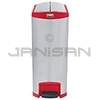 Rubbermaid 1902003 Slim Jim End Step-On Receptacle - 24 Gallon Capacity - Stainless Steel and Red in Color