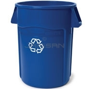 "Rubbermaid 2643-07 BRUTE Recycling Container with Venting Channels - 44 Gallon Capacity - 24"" Dia. x 31.5\"" H"