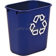 "Rubbermaid 2955-73 Deskside Recycling Container, Small with Universal Recycle Symbol - 13 5/8 Quart Capacity - 11.38"" L x 8.25\"" W x 12.13\"" H"