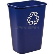 "Rubbermaid 2957-73 Deskside Recycling Container, Large with Universal Recycle Symbol - 41 1/4 Quart Capacity - 15.25"" L x 11\"" W x 19.88\"" H"