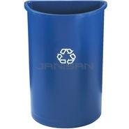 "Rubbermaid 3520-73 Half Round Recycling Container - 21 Gallon Capacity - 21"" L x 11\"" W x 28\"" H"