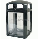 "Rubbermaid 3975-89 Landmark Series Security Container with Lock and Clear Panels - 26"" Sq. x 46.5"" H - 50 Gallon Capacity"