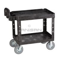 "Rubbermaid 4520-10 2 Shelf Cart with Pneumatic Casters - 45.25"" L x 25.88\"" W x 33.25\"" H - 500 lb capacity"