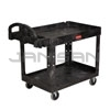 "Rubbermaid 4520-88 2 Shelf Utility Cart - 45.25"" L x 25.88"" W x 33.25"" H - 500 lb capacity - Black in Color"