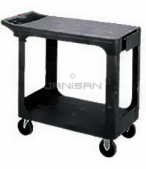 "Rubbermaid 4525 Flat Shelf Utility Cart - 43 7/8"" L x 25 5/8\"" W x 33 5/16\"" H - 500 lb capacity - Black in Color"