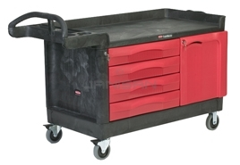 "Rubbermaid 4548-88 TradeMaster® Cart with 4-Drawer and Cabinet, Large - 58.63"" L x 26.38\"" W x 33.25\"" H - 750 lb capacity"