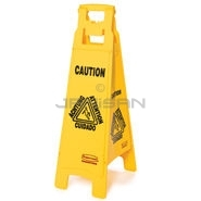"Rubbermaid 6114-77 Floor Sign with ""Caution Wet Floor\"" Imprint, 4-Sided"