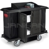 Rubbermaid 6191 Full Size Housekeeping Cart with Doors and Vinyl Bag, Bumpers, Vacuum Holder and Under Deck Shelf