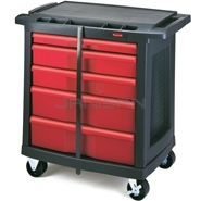 "Rubbermaid 7734-88 5-Drawer Mobile Work Center - 32.63"" L x 19.94\"" W x 33.5\"" H - 250 lb capacity"