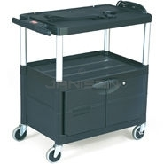 "Rubbermaid 9T29 Audio-Visual Cart, 3 Shelves with Cabinet, 3"" dia Casters - 32.5\"" L x 18.63\"" W x 32.13\"" H - 150 lb capacity - 24\"" Max TV Size"