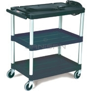 "Rubbermaid 9T28 Audio-Visual Cart, Open Cart with 3 Shelves, 3"" dia Casters - 32.5\"" L x 18.63\"" W x 32.13\"" H - 150 lb capacity - 24\"" Max TV Size"