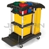 Rubbermaid 9T74 Microfiber Cleaning Cart with Color-Coded Pails