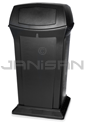 "Rubbermaid FG917500BLA 65 Gallon Ranger Container with 2 Doors - 24.88"" Sq. x 49.25"" H - Black in Color"