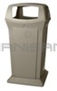"Rubbermaid FG917600BEIG 65 Gallon Ranger Container with 4 Openings - 24.88"" Sq. x 49.25"" H - Beige in Color"
