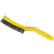 "Rubbermaid 9B44 Wire Brush with Scraper, Long Plastic Handle - 14"" in Length - 3\"" x 19\"" Bristle Pattern"