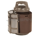 "Rubbermaid FGA38SDABZPL Covered Top Side Door Trash Can with Keyed Cam Lock - 38 Gallon Capacity - 24"" Dia. x 43"" H - Disposal Opening is 6"" H x 14.5"" W - Architectural Bronze/Sand in Color"