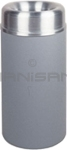 "Rubbermaid / United Receptacle AOT15SAGR - Crowne Collection Small Open Top Trash Receptacle - 15 Gallon Capacity - 15"" Dia. x 30"" H - 9"" Dia. Disposal Opening - Gray Textured Body with Satin Aluminum Top"