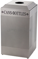 Rubbermaid / United Receptacle DCR24CSM Silhouette Recycling Receptacle - Cans & Bottles - 29 Gallon Capacity - Silver Metallic