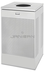 "Rubbermaid / United Receptacle SC18ESM Designer Line Silhouette Open Top Waste Receptacle - 40 Gallon - 18 3/4"" Sq. x 30\"" H - Silver Metallic"