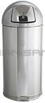 "Rubbermaid / United Receptacle R1536MC Metallic Designer Line Bullet Trash Can - 15 Gallon Capacity - 15"" Dia. x 36"" H - Disposal Opening is 8"" W x 7"" H - Mirror Chrome"