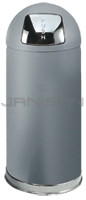 "Rubbermaid / United Receptacle R1536SCGR Crowne Collection Bullet Trash Can - 15 Gallon Capacity - 15"" Dia. x 36\"" H - Disposal Opening is 8\"" W x 7\"" H - Gray Textured Body with Satin Chrome Accents"