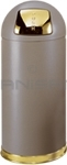 "Rubbermaid / United Receptacle R1536SBBR Crowne Collection Bullet Trash Can - 15 Gallon Capacity - 15"" Dia. x 36"" H - Disposal Opening is 8"" W x 7"" H - Brown Textured Body with Satin Brass Accents"