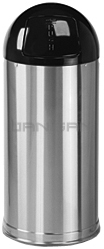 "Rubbermaid / United Receptacle R1536SSS Metallic Designer Line Bullet Trash Can - Satin Stainless Steel with Black Top - 15"" Dia. x 36\"" H - 15 Gallon Capacity"