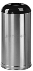 "Rubbermaid / United Receptacle R32SSS Designer Line Open Top Waste Receptacle - 15 Gallon - 15"" Dia. x 32\"" H - 5.5\"" Dia. Disposal Opening - Satin Stainless Steel with Black Top"