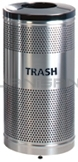 "Rubbermaid / United Receptacle Howard Classic S3SST-BK Stainless Steel/Black Powder Coat Top Perforated Steel Waste Receptacle - 25 gallon capacity - 18"" Dia. x 35.5"" H"