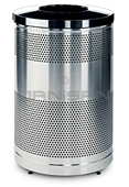 "Rubbermaid / United Receptacle Howard Classic S55SST-BK Stainless Steel/Black Powder Coat Top Perforated Steel Waste Receptacle - 51 gallon capacity - 25"" Dia. x 35.5"" H"