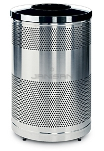 "Rubbermaid / United Receptacle Howard Classic S55SST-BK Stainless Steel/Black Powder Coat Top Perforated Steel Waste Receptacle - 51 gallon capacity - 25"" Dia. x 35.5\"" H"