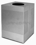 "Rubbermaid / United Receptacle SC22ESM Designer Line Silhouette Open Top Waste Receptacle - 50 Gallon - 21 3/4"" Sq. x 31 1/2"" H - Silver Metallic"