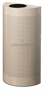 "Rubbermaid / United Receptacle SH12EPLDP Designer Line Silhouette Open Top Half Round - 12 Gallon Capacity - 18"" W x 32\"" H x 9\"" D - Desert Pearl"