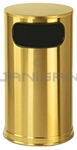 "Rubbermaid / United Receptacle SO16SBS Waste Receptacle - 12 Gallon - 15"" Dia. x 28"" H - Satin Brass Stainless Steel"