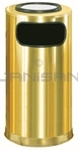 "Rubbermaid / United Receptacle SO16SUSBS Ash/Trash Waste Receptacle - 12 Gallon - 15"" Dia. x 28"" H - Satin Brass Stainless Steel"