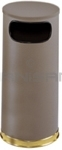 "Rubbermaid / United Receptacle SO17SBBR Crowne Collection Waste Receptacle - 15 Gallon Capacity - 15"" Dia. x 33.5"" H - Disposal Opening is 11"" W x 5"" H - Brown Body with Brass Accents"