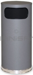 "Rubbermaid / United Receptacle SO17SCGR Crowne Collection Waste Receptacle - 15 Gallon Capacity - 15"" Dia. x 33.5"" H - Disposal Opening is 11"" W x 5"" H - Gray Body with Chrome Accents"