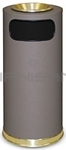 "Rubbermaid / United Receptacle SO17SUSBBR Crowne Collection Waste Receptacle - 15 Gallon Capacity - 15"" Dia. x 33.5"" H - Disposal Opening is 11"" W x 5"" H - Brown Textured Base with Brass Accents"