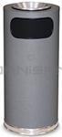 "Rubbermaid / United Receptacle SO17SUSCGR Crowne Collection Waste Receptacle - 15 Gallon Capacity - 15"" Dia. x 33.5"" H - Disposal Opening is 11"" W x 5"" H - Gray Textured Base with Chrome Accents"