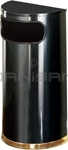 "Rubbermaid / United Receptacle SO8-10B European Designer Line Half Round Waste Receptacle - Black with Mirror Brass - 9 Gallon Capacity - 18"" W x 32"" H x 9"" D - Disposal Opening is 15"" W x 5"" H"
