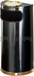 "Rubbermaid / United Receptacle SO8SU-10B European Designer Line Half Round Ash/Trash Receptacle - Black with Mirror Brass - 9 Gallon Capacity - 18"" W x 32"" H x 9"" D - Dispsoal Opening is 15"" W x 5"" H"