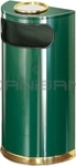 "Rubbermaid / United Receptacle SO8SU-10G European Designer Line Half Round Ash/Trash Receptacle - Empire Green with Mirror Brass - 9 Gallon Capacity - 18"" W x 32"" H x 9"" D - Disposal Opening is 15"" W x 5"" H"