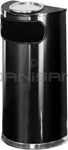 "Rubbermaid / United Receptacle SO8SU-20B European Designer Line Half Round Ash/Trash Receptacle - Black with Mirror Chrome - 9 Gallon Capacity - 18"" W x 32"" H x 9"" D - Disposal Opening is 15"" W x 5"" H"