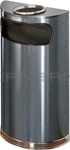 "Rubbermaid / United Receptacle SO8SU-20A European Designer Line Half Round Ash/Trash Receptacle - Anthracite with Mirror Chrome - 9 Gallon Capacity - 18"" W x 32"" H x 9"" D - Dispsoal Opening is 15"" W x 5"" H"