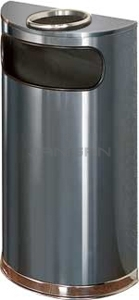 "Rubbermaid / United Receptacle SO8SU-20A European Designer Line Half Round Ash/Trash Receptacle - Anthracite with Mirror Chrome - 9 Gallon Capacity - 18"" W x 32\"" H x 9\"" D - Dispsoal Opening is 15\"" W x 5\"" H"