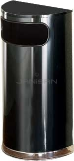 "Rubbermaid / United Receptacle SO8-20B European Designer Line Half Round Waste Receptacle - Black with Mirror Chrome - 9 Gallon Capacity - 18"" W x 32\"" H x 9\"" D - Disposal Opening is 15\"" W x 5\"" H"