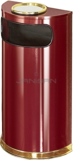 "Rubbermaid / United Receptacle SO8SU-10C European Designer Line Half Round Ash/Trash Receptacle - Crimson with Mirror Brass - 9 Gallon Capacity - 18"" W x 32\"" H x 9\"" D - Disposal Opening is 15\"" W x 5\"" H"