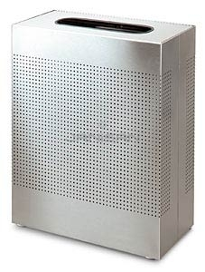 "Rubbermaid / United Receptacle SR18 Rectangular Designer Line Silhouette Open Top Waste Receptacle - 40 Gallon Capacity -  24"" W x 30\"" H x 12.5\"" Dp. - Stainless Steel"