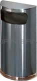"Rubbermaid / United Receptacle SO8-20A European Designer Line Half Round Waste Receptacle - Anthracite with Mirror Chrome - 9 Gallon Capacity - 18"" W x 32"" H x 9"" D - Disposal Opening is 15"" W x 5"" H"