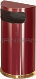 "Rubbermaid / United Receptacle SO8-10C European Designer Line Half Round Waste Receptacle - Crimson with Mirror Brass - 9 Gallon Capacity - 18"" W x 32"" H x 9"" D - Disposal Opening is 15"" W x 5"" H"